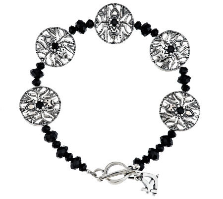 Kenneth Johnson Sterling Spider Black Spinel Bracelet
