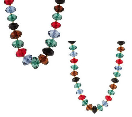 """As Is"" Joan Rivers Set of 2 Faceted Bead Necklaces"