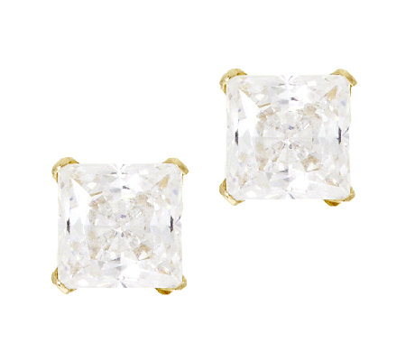 Diamonique 1.00 cttw Princess Stud Earrings,14K Gold