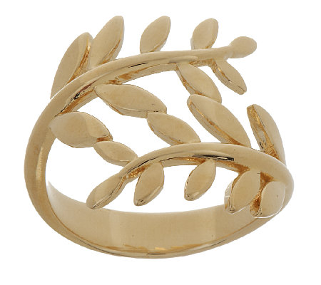 Bronze Polished Olive Branch Bypass Design Ring by Bronzo Italia