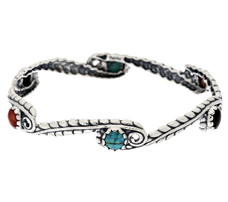 American West Multi-Gemstone Sterling Leaf Design Bangle