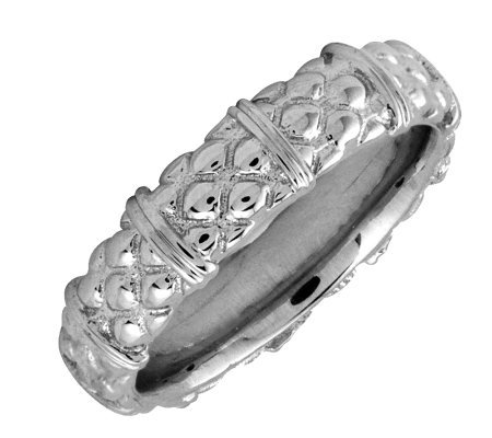 Simply Stacks Sterling Silver Textured 4.25mm Ring