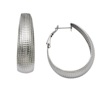 Stainless Steel Textured Oval Hoop Earrings