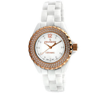 Peugeot Women's Ceramic Swarovski Crystal WhiteDial Watch - J308588