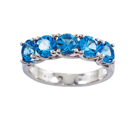 Sterling 2.95 cttw Blue Topaz 5-Stone Ring