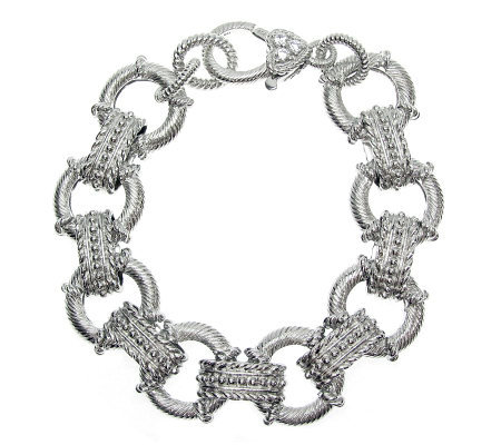 "Judith Ripka Sterling Textured Link Diamonique Bracelet - 7""L"