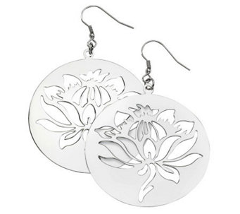 Stainless Steel Floral Disc Dangle Earrings - J311888