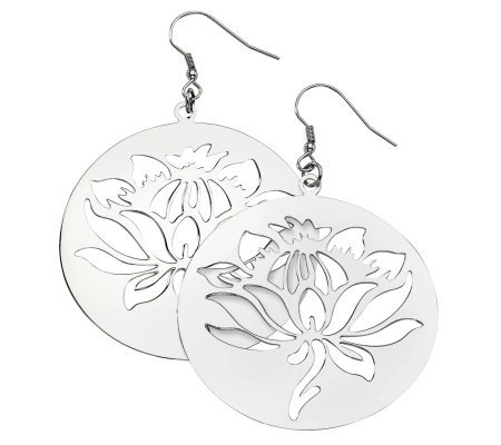 Stainless Steel Floral Disc Dangle Earrings