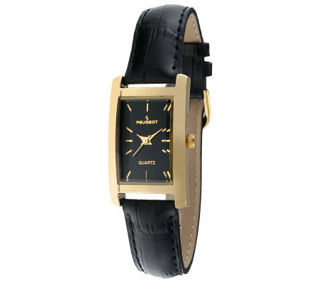 Peugeot Women's Goldtone Black Leather Strap Watch