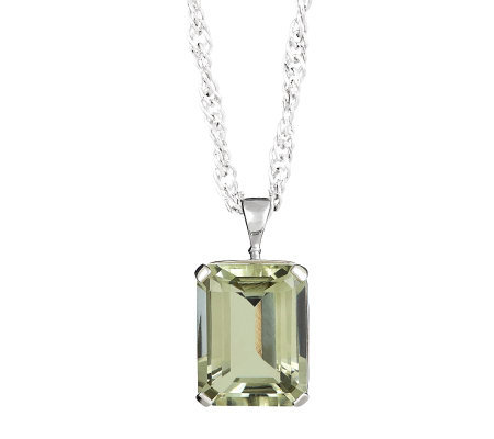 Sterling Emerald-Cut Green Amethyst Pendant w/Chain