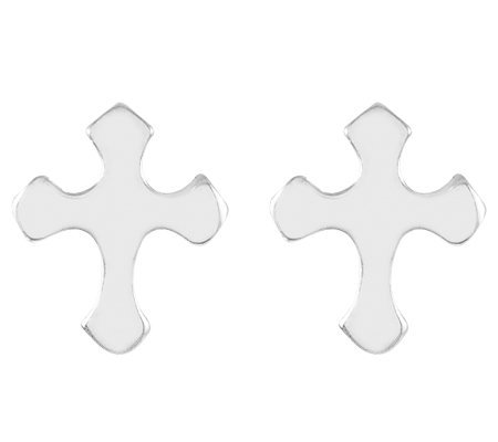 Sterling Silver Polished Petite Budded Cross Stud Earrings