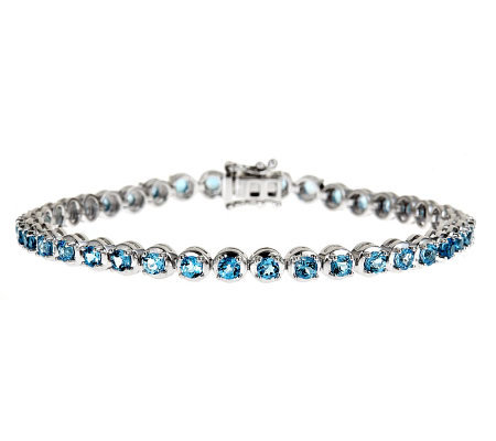 Sterling Silver 4.00 ct tw Swiss Blue Topaz Tennis Bracelet