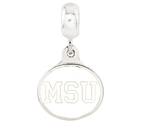 Sterling Silver Michigan State University Dangle Bead