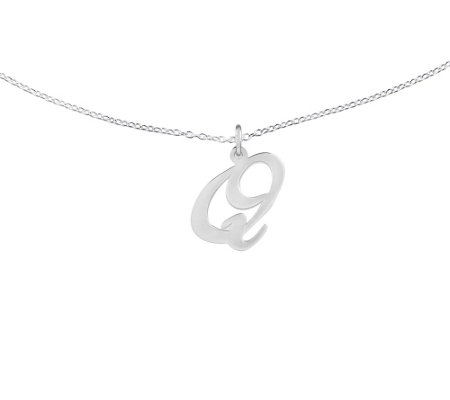 "Sterling Polished Script Initial Pendant w/ 18""Chain"