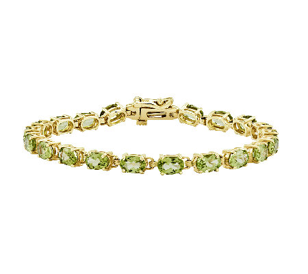 "7"" Faceted Oval Gemstone Tennis Bracelet, 14K G old"