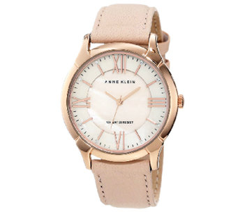 Anne Klein Women's Rosetone Pink Leather StrapWatch - J316288
