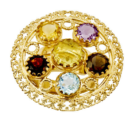 14K Yellow Gold-Plated Sterling 4.15 cttw Multi-Gemstone Ring