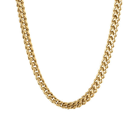 Gold Ion-Plated Stainless Steel Foxtail Chain Necklace, 22""