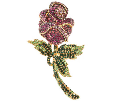 Joan Rivers Enchanted Pave' Rose Pin