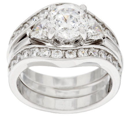 Diamonique 100-Facet 2 Piece Bridal Ring Set, Platinum Clad