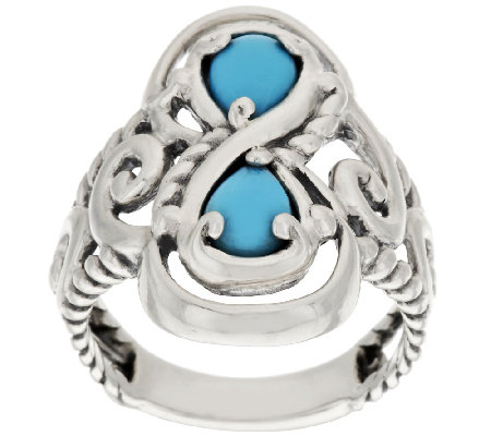 Carolyn Pollack Sleeping Beauty Turquoise Swirl Design Ring
