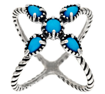 Carolyn Pollack Sleeping Beauty Turquoise Sterling X-Ring - J318688