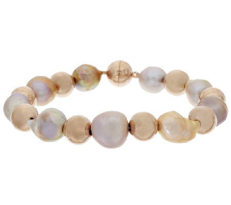 """As Is"" Honora 10.5mm - 12.0mm Ming Cultured Pearl Bronze Bead Bracelet"