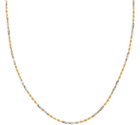 "14K Gold 16"" Two-Tone Fancy Rope Necklace, 2.3g"