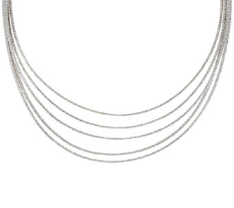 "Vicenza Silver Sterling 18"" Multi-strand Omega Necklace, 49.5g - J320888"