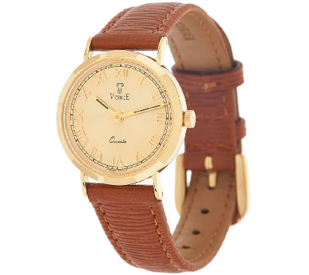 Vicence Round Case Leather Strap Watch, 18K Gold
