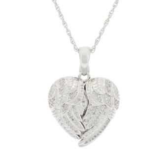 """As Is"" Angel Wing Heart Diamond Locket, Sterling 1/5 ct tw by Affinity - J323788"