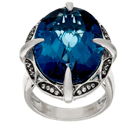 London Blue Topaz & White Zircon Sterling Silver Ring 26.00 ct tw