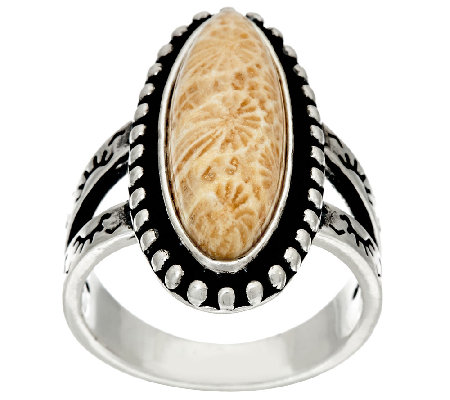 American West Fossilized Coral Sterling Silver Ring