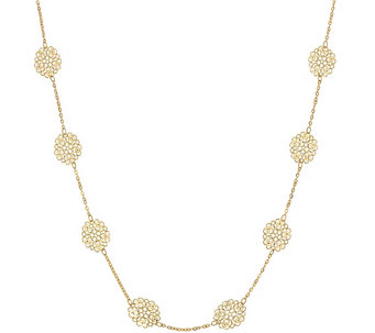 "Vicenza Gold 36"" Diamond Cut Flower Station Necklace, 14K - J324688"