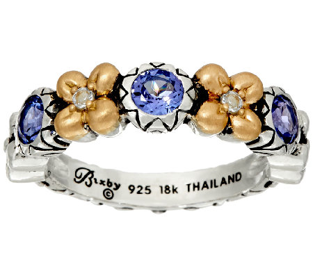 Barbara Bixby Sterling & 18K Flower Band Ring