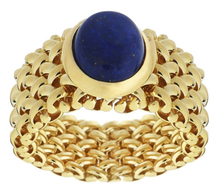 """As Is"" Veronese 18K Clad Gemstone Flexible Band Ring"