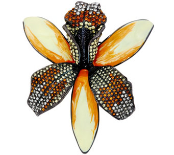 Joan Rivers Enamel & Pave' Shimmering Orchid Pin - J327788