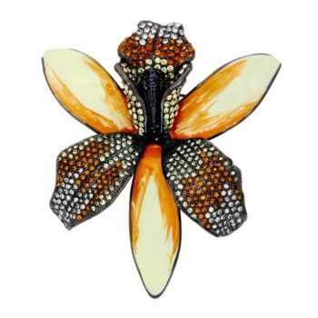 Joan Rivers Enamel & Pave' Shimmering Orchid Pin