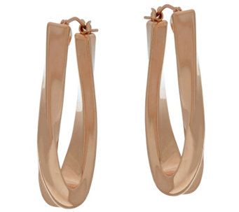 """As Is"" Oro Nuovo 1-1/2"" Elongated Oval Twist Hoop Earrings, 14K - J328388"