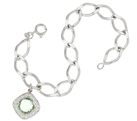 JMH Jewellery Sterling Silver Bracelet with Green Quartz Charm
