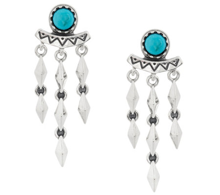 Sterling Silver & Turquoise Dangle Earrings by American West
