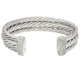 Vicenza Silver Sterling Bold Twisted Cuff Bracelet, 36.8g - J329388