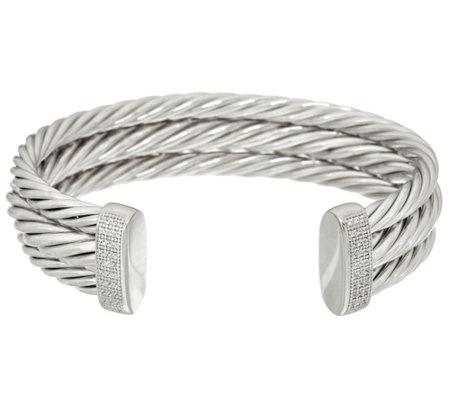 Vicenza Silver Sterling Bold Twisted Cuff Bracelet, 36.8g