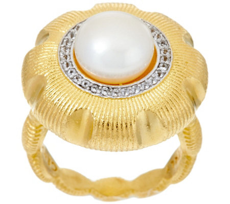 Genesi 18K Clad Cultured Pearl & White Topaz Ring