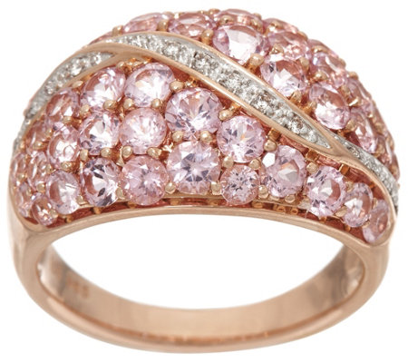 Pink Spinel & Diamond Accent Wide Band Ring 14K Gold 2.00 cttw