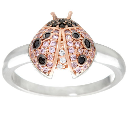 Diamonique Ladybug Ring, Sterling