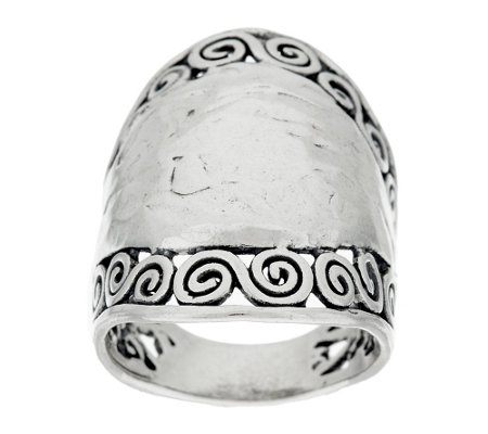 """As Is"" Sterling Silver Hammered & Scroll Design Ring by Or Paz"