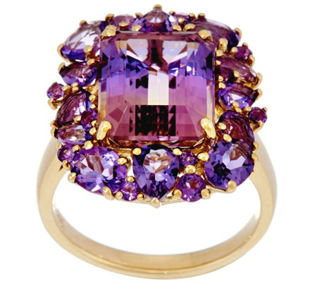 Ametrine & Multi-Cut Amethyst Bold Ring, 14K Gold 4.60 ct