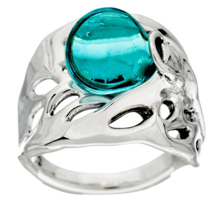 """As Is"" Kalos by Hagit Sterling Silver Blue Glass Ring"