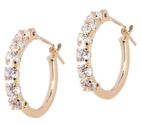 Diamonique Petite Polished Hoop Earrings, 14K Gold